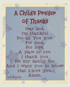 Thanksgiving Prayer for School
